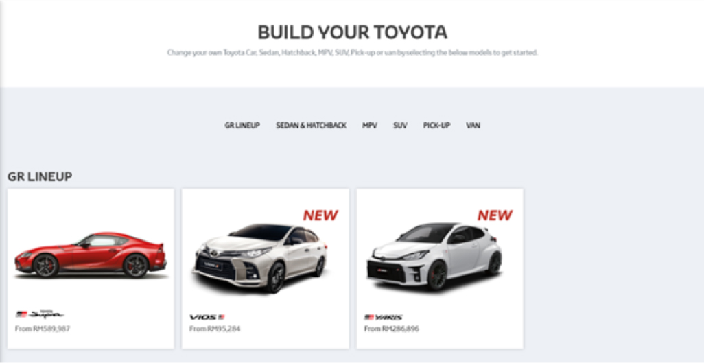 Toyota Malaysia Book Your Toyota Online Selecting Car Type and Car Model