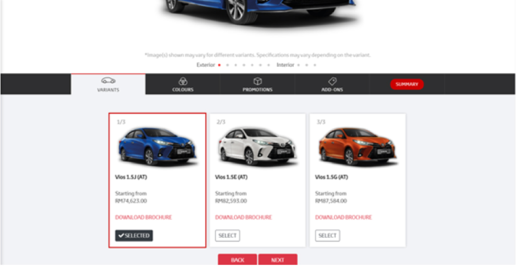 Toyota Malaysia Book Your Toyota Online Selecting Car Variant and Car Colour