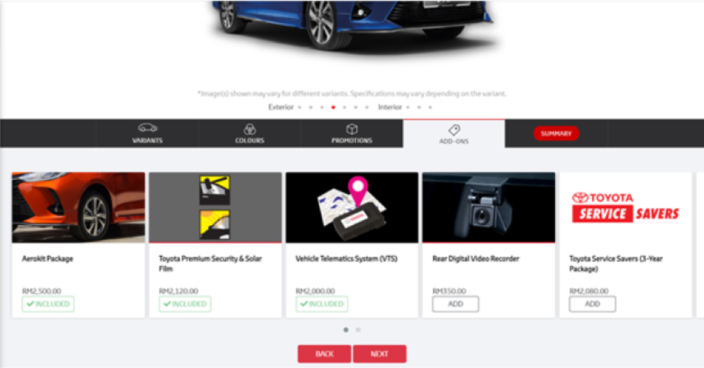 Toyota Malaysia Book Your Toyota Online Selecting Add-Ons For Car